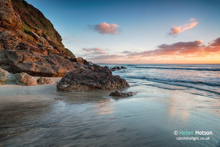 Beautiful sunrise on the beach at Pentewan near St Austell in Cornwall