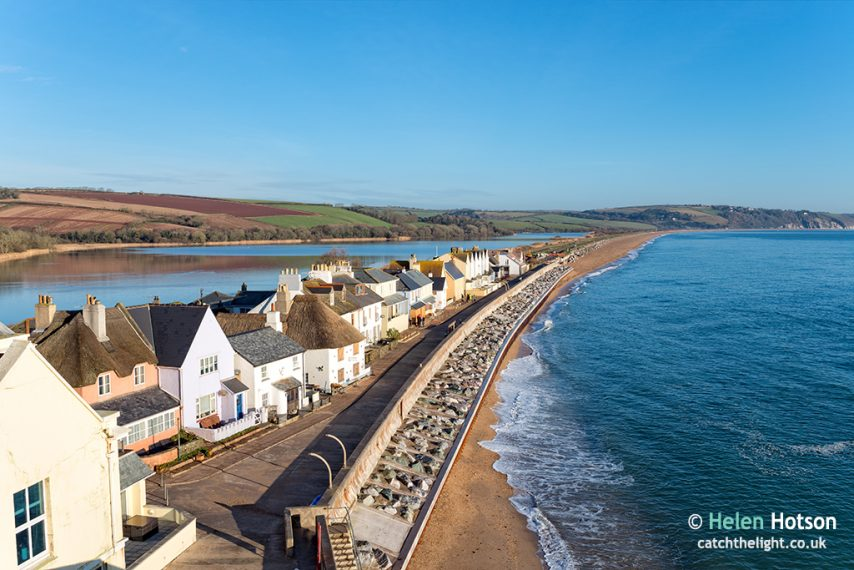 Pretty cottages at Torcross on the Devon coast, the village sits on a strip of land overlooking Slapton Sands beach with a fresh water lake behind.